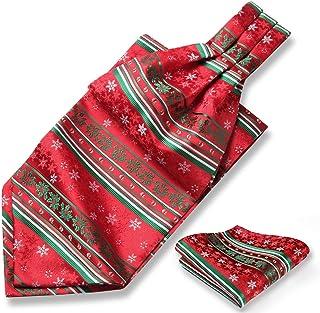 HISDERN ascot da uomo di natale e fazzoletto, cravatta ascot e taschino da uomo in jacquard per natalizia festival