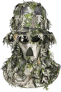 Auscamotek 3D Leafy Full Face Mask and Hat for Hunting Airsoft Bird Watches Green and Brown Color