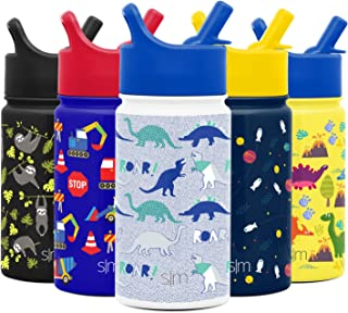Simple Modern 14oz Summit Kids Water Bottles with Straw Lid Sippy Cup - Dishwasher Safe Vacuum Insulated Tumbler Double Wall Travel Mug 18/8 Stainless Steel Flask - Dinosaur Roar