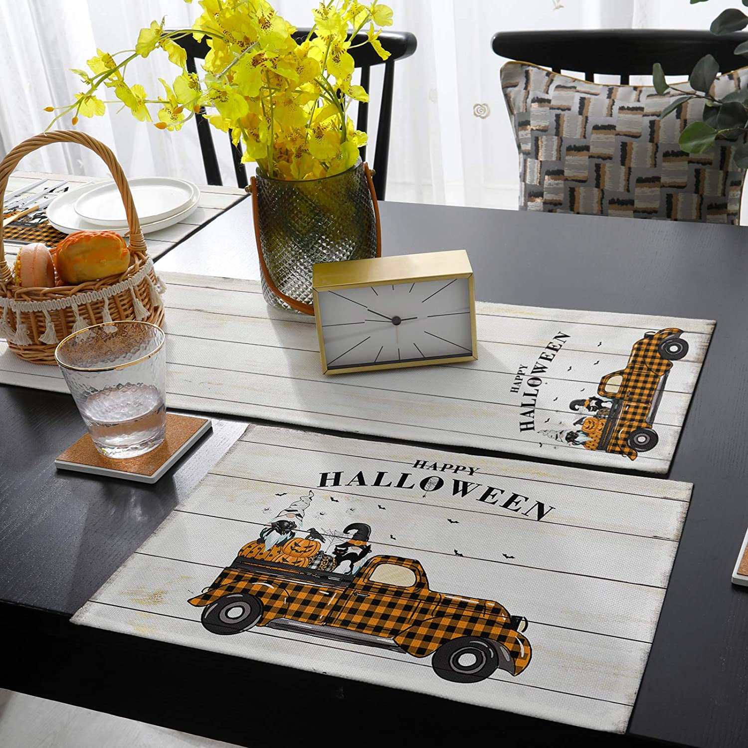 Placemats and Table Runner Set Dining Happy Halloween for Max 63% Albuquerque Mall OFF