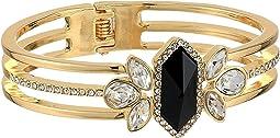 Jet Stone Cluster Hinge Cuff Bracelet