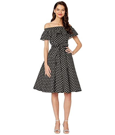 Unique Vintage Off-Shoulder Ruffle Nashville Swing Dress (Black/White Dot) Women