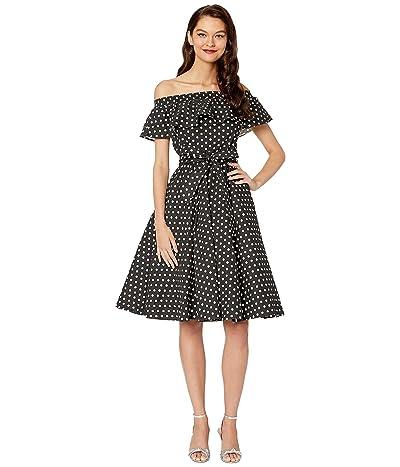 Unique Vintage Off-Shoulder Ruffle Nashville Swing Dress (Black/White Dot) Women