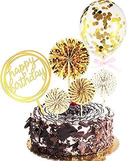 Set de Topper de Cupcake Joyeux Anniversaire Ventilateurs en Papier Ballon Confettis Topper de Cupcake en Acrylique pour D...