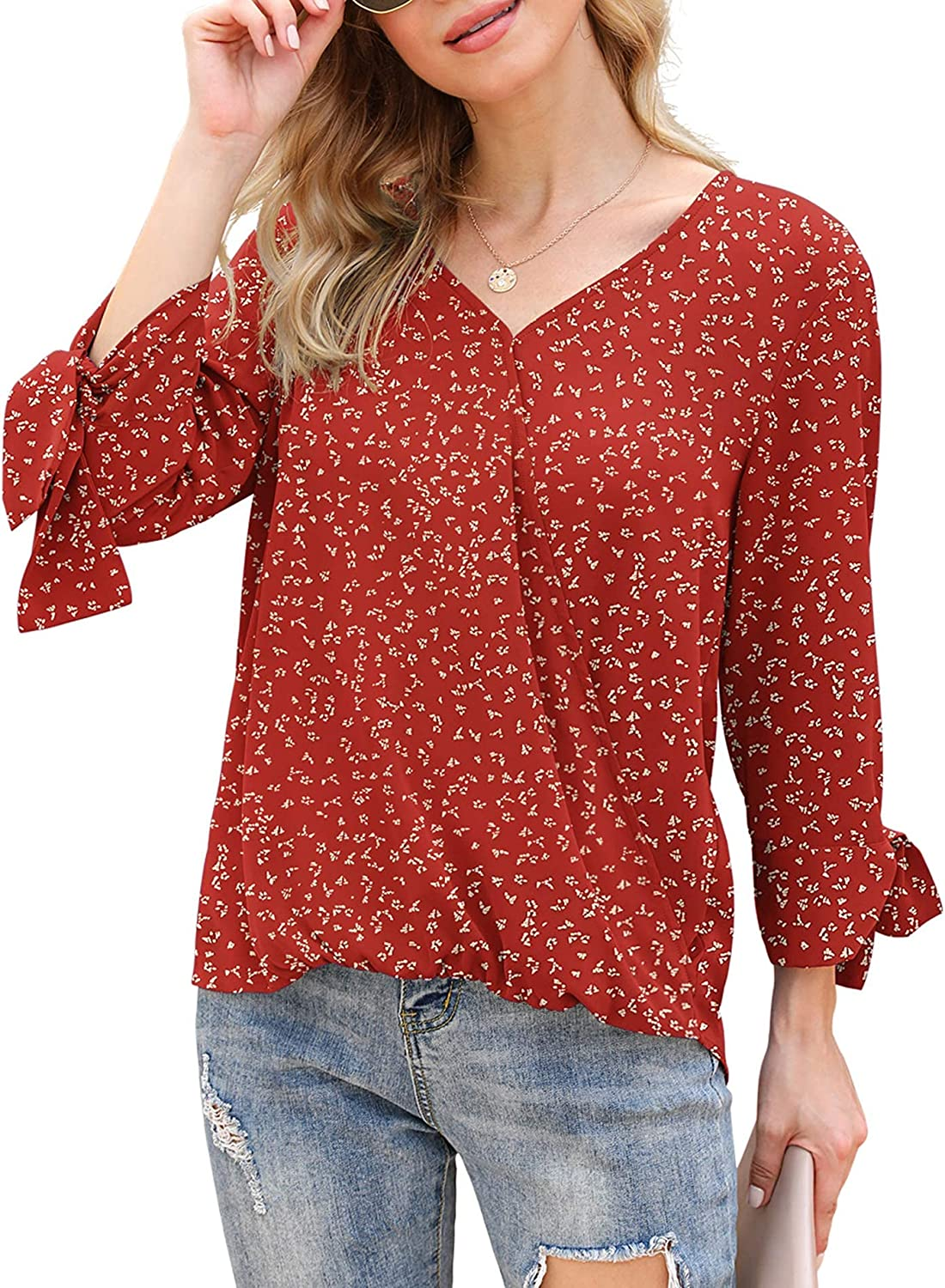 LILBETTER Womens Loose Casual Tie Sleeve V Neck Chiffon Blouses Tops Shirts