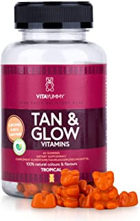 VITAYUMMY Tan & Glow Vitamin Gummies Tropical Flavour | Tan Accelerator & Safer Sun Absorption | Rich in Vitamins D. A. C & Zink for Healthy Skin | 60 Pcs. 1 Month Supply