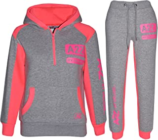 Kids Jogging Suit Boys Girls Designer's Tracksuit Zipped Top & Bottom 5-13 Years