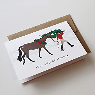 Eat and Be Merry Funny Chistmas Holiday Horse Equestrian Greeting Cards - 8-Pack of folded greeting cards with envelopes and seals