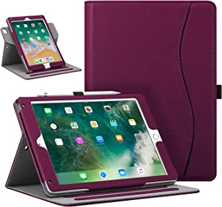 "Fintie Case for iPad 9.7"" 2018/2017, iPad Air 2 / iPad Air - [Corner Protection] 360 Degree Rotating Smart Stand Cover with Pocket, Pencil Holder, Auto Sleep/Wake for iPad 6th / 5th Gen, Purple"
