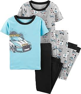 Carter's Boys Snug Fit Cotton PJs Pajamas (Blue/Heather Police Car, 6)