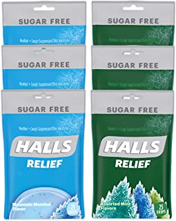 HALLS Relief Variety Pack Mountain Menthol and Assorted Mint Sugar Free Cough Drops, 6 Packs of 25 Drops (150 Total Drops)