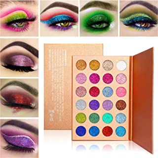 Glitter Eyeshadow Palette Shimmer Makeup,Afflano Highly Pigmented Glitter Eyeshadow Pallet Mineral,Professional Pink Blue Green White Red Gold Sliver Purple pressed glitter eye shadow Powder 24 colors