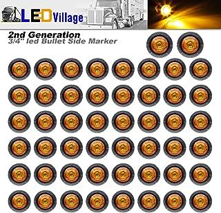 Ledvillage 50 Pcs 2nd Generation 3/4 Inch Mount Amber LED Bullet Marker Lights, Side Led Marker for Truck Boat SUV ATV Bike Trailer Marine