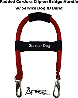 """Activedogs Padded Cordura 12"""" Clip-on Bridge Auxiliary Handle w/Neoprene Grip + Elastic Adjustable Service Dog ID Patch Band"""