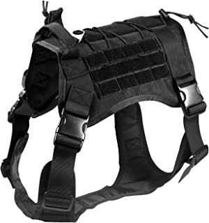 Feliscanis Tactical Dog Training Vest Harness Adjustable Service Dog Vest Black Szie XL