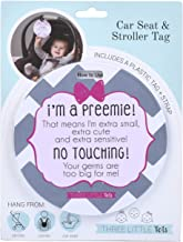 Preemie Gift Pink Preemie Chevron Tag - I'm A Preemie, That Means I'm Extra Small, Extra Cute and Extra Sensitive, No Touching Your Germs are Too Big for Me (Girl Preemie Car Seat Sign, Stroller Tag)