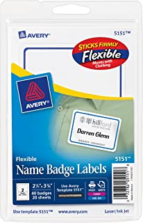 Avery Flexible Name Badge Labels with Blue Border, 2-1/3 x 3-3/8, Pack of 40 (5151)
