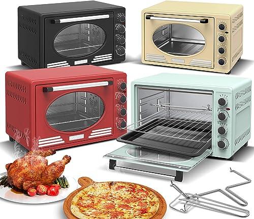 Turbotronic Mini four rétro avec chaleur tournante 45 l Noir Rouge Bleu Beige 2000 W Mini four Four à pizza Barbecue ...