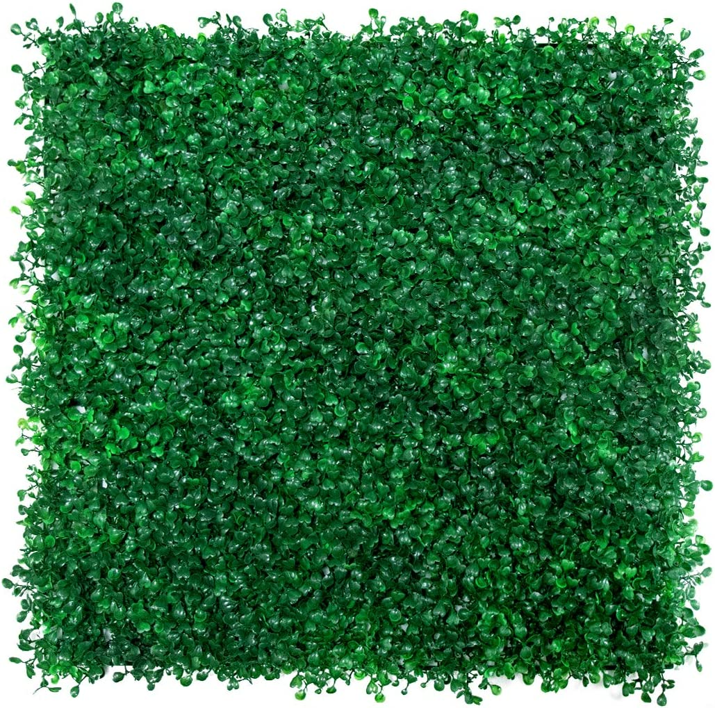 Cymdogion da Artificial Boxwood Panels - 24 PCS Faux Boxwood Mats Hedges Plants, UV Protected Greenery Wall Backdrop for Outdoor Garden Fence Privacy Screen and Indoor Wall Decor