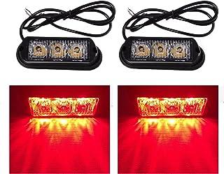 TASWK 3-LED電球は、トラック車のためのストロボを点滅させる車両の防水緊急グリルライト2個 (レッド)