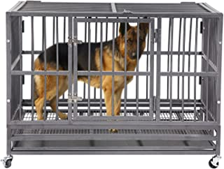 FURUISEN 37/42/48 Inch Heavy Duty Dog Crate, Strong Metal Military Pet Kennel Playpen Large Dogs Cage with Lockable Wheels & Two Prevent Escape Lock