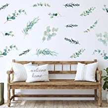 4 Sheets Leaves Wall Decal Country Watercolor Green Plant Wall Decal Removable Leaves Wall Decals Peel and Stick Wall Deco...
