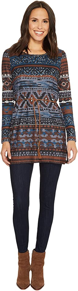Tribal - Long Sleeve Jersey Tunic w/ Beads at Collar and Belt