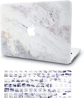 """KECC Laptop Case for MacBook Pro 13"""" (2020/2019/2018/2017/2016) w/Keyboard Cover Plastic Hard Shell A2159/A1989/A1706/A1708 Touch Bar 2 in 1 Bundle (White Marble 2)"""