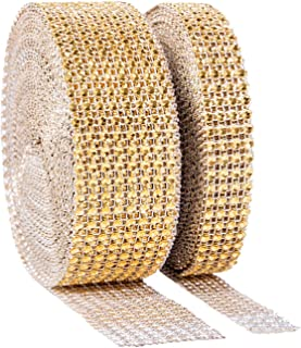 1 Roll 8 Row 10 Yard and 1 Roll 4 Row 10 Yard Acrylic Rhinestone Diamond Ribbon for Wedding Cakes, Birthday Decorations, Baby Shower Events, Arts and Crafts Projects (Silver, Gold)