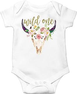 1st Birthday Bodysuit Girl Bull Skull Wild One Glitter Gold and Boho Skull  Baby First Birthday 53b8b2a3e
