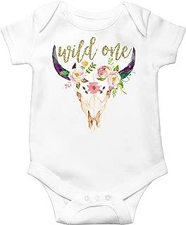 1st Birthday Bodysuit Girl Bull Skull Wild One Glitter Gold and Boho Skull Baby First Birthday