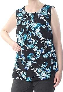 Calvin Klein Plus Size Floral-Print Pleated-Neck Top Blue Size X-Large