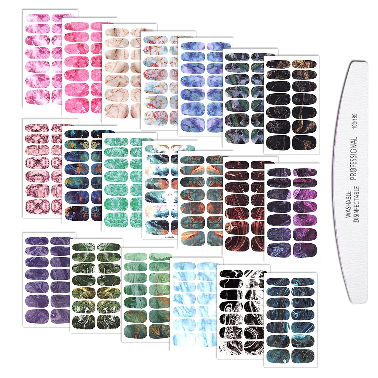 WOKOTO 280 Tips 20 Cheap Sheets Marbled Strips Polish With Ranking TOP19 1 Set Nail