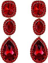 EVER FAITH Women's Austrian Crystal Elegant Bridal Square Oval-cut Teardrop Dangle Pierced Earrings