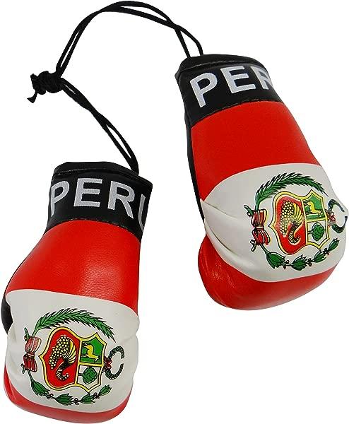 秘鲁国旗迷你拳击手套挂在你的汽车镜上