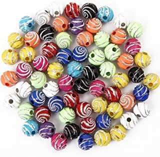 Bingcute 300Pcs 8mm Screw Shiny Acrylic Round Ball Spacer Loose Beads for Jewelry Making