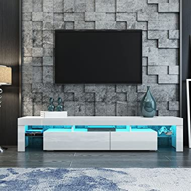 TV Stand Cabinet Wooden Entertainment Unit High Gloss Furniture White