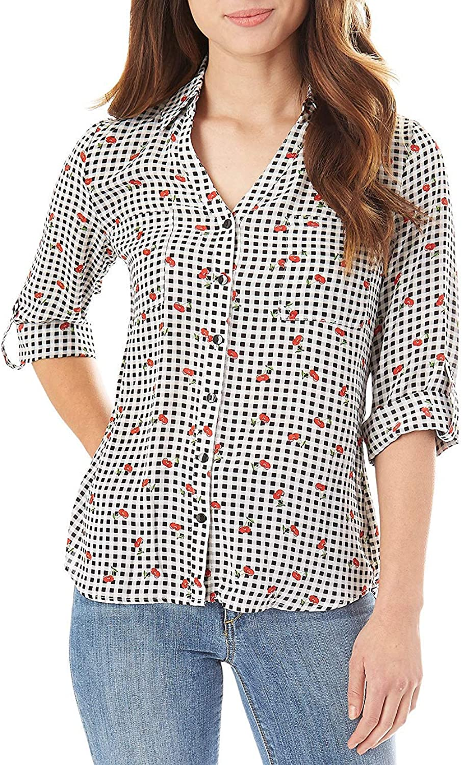 A. Byer Gingham Pattern Cherry Accent Detail Button Down Top