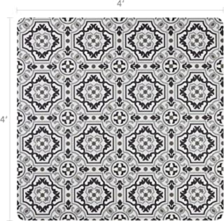 Vinyl Floor Mat, Durable, Soft and Easy to Clean, Ideal for Highchair Floor Mat, Mudroom Mat or Play Mat. Freestyle, Wool Tapestry Pattern (4 ft x 4 ft)