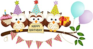 Owls Happy Birthday Edible Cake Image Topper 8 Inch Round