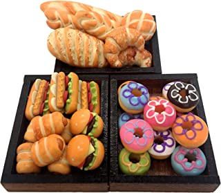 Little World Dollhouse Miniatures Food: Breads fix on a Wooden Tray, Collectibles, Tiny Food, Dollhouse Bakery, Dollhouse ...