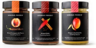 The Serious Foodie Gourmet Sauces - Gourmet Gluten-Free Grilling: Mango & Aji Amarillo Cooking Sauce, Mirasol Mole Cooking Sauce, Blood Orange & Aji Panca Cooking Sauce (3-Pack)