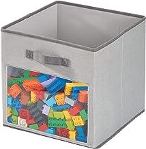 iDesign Pudełko materiałowe, średniej wielkości pudełko do przechowywania z mieszanki bawełny i poliestru, do szafki, sypi...