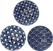 طبق صغير من Minoru Touki من مجموعة أنماط القنب المموج Cloisono 3 أنماط قطرها 5.16 بوصة لوحة مسطحة