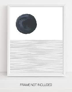 Abstract Ocean Waves & Sun Contemporary Wall Art   11x14 UNFRAMED Print   Nordic Modern Mid Century Black & White Wall Decor.