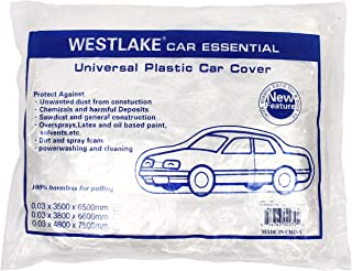 WEST LAKE Car Essential Universal Disposable Clear Plastic Car Cover Shield Rain Snow Hail Dust Garage Great for SUV, Sedan, Sport Cars, Antique Cars, etc.