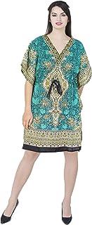 SKAVIJ Women's Tunic Viscose Caftan Short Loose Casual Dress (Free Size)