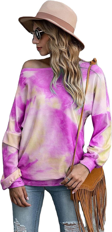 Andongnywell Women's Print Long Sleeve Tunic Tops Tie dye Digital Printing Slant Collar T-Shirt top Print Blouse Shirts