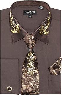 Men's Metal Paisley On Collar Regular Fit Dress Shirts with Metal Fabric Tie Hanky Cufflinks Combo