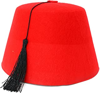 Skeleteen Arabian Red Fez Hat - Moroccan Costume Accessory Fez Hats with Black Tassel - 1 Piece